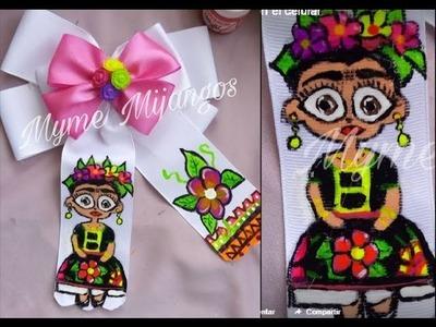Moño pintado a mano, frida kahlo,tutoriales,creaciones,DIY,artesanias,handmade,manualidades