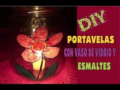 Portavelas de vidrio con Esmaltes DIY