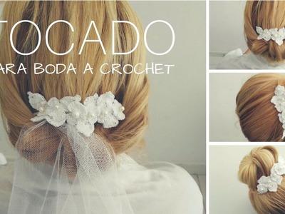 Tocado o diadema tejida a crochet Boda *wedding accesorio*