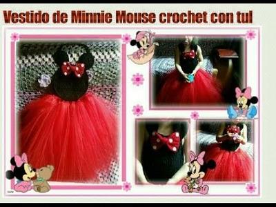 Vestido de Minnie Mouse a crochet con tul. Crochet Minnie Mouse tutu dress