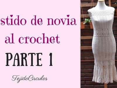 """Vestido de novia """"Sirena"""" tejido al crochet. Parte 1. Tejidos Circulos"""
