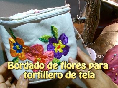 Bordado de flores para tortillero de tela |Creaciones y manualidades angeles