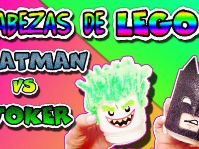 Cabezas LEGO Batman y Joker con botes de cristal | Manualidades para niños