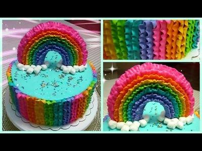 Como decorar un bizcocho con un arcoiris (Bizcocho Arcoiris, Rainbow Cake)