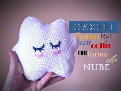 CROCHET: como tejer un COJIN en forma de NUBE (zurdo)