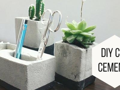 DIY con cemento: macetero y lapicero | Helen Dressler DIY