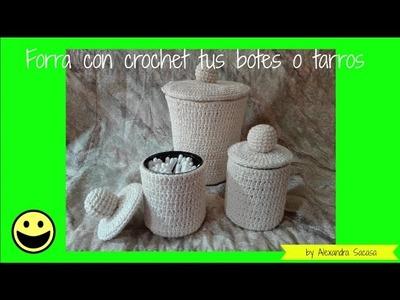 Forro a crochet para botes o tarros
