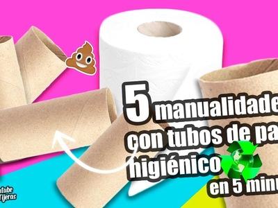 MANUALIDADES RECICLAJE|5 MANUALIDADES CON TUBOS DE PAPEL HIGIÉNICO EN 5 MINUTOS