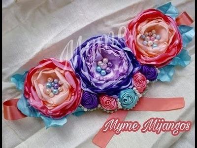 Tocado con flores de tela.Cinto.manualidades.tutoriales.crafts.creaciones