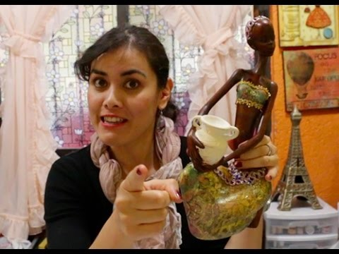 Africanita  de cerámica con Decoupage