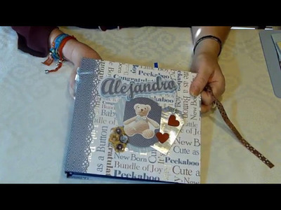 Álbum de fotos bebé niño personalizado 03. Álbum bebé scrapbook. Regalo para bautizo o nacimiento