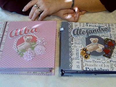 Álbumes de fotos bebé duo azul y rosa 01. Álbum bebé scrapbook. Regalo para bautizo o nacimiento