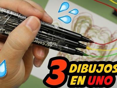 ART CHALLENGE - 3 MARCADORES EN 1 - como dibujar con tres rotuladores a la vez