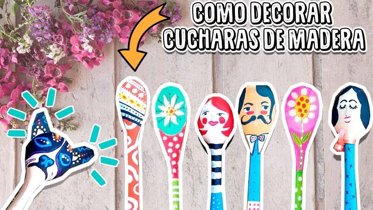 COMO DECORAR CUCHARITAS DE MADERA| COMO DIBUJAR ♡