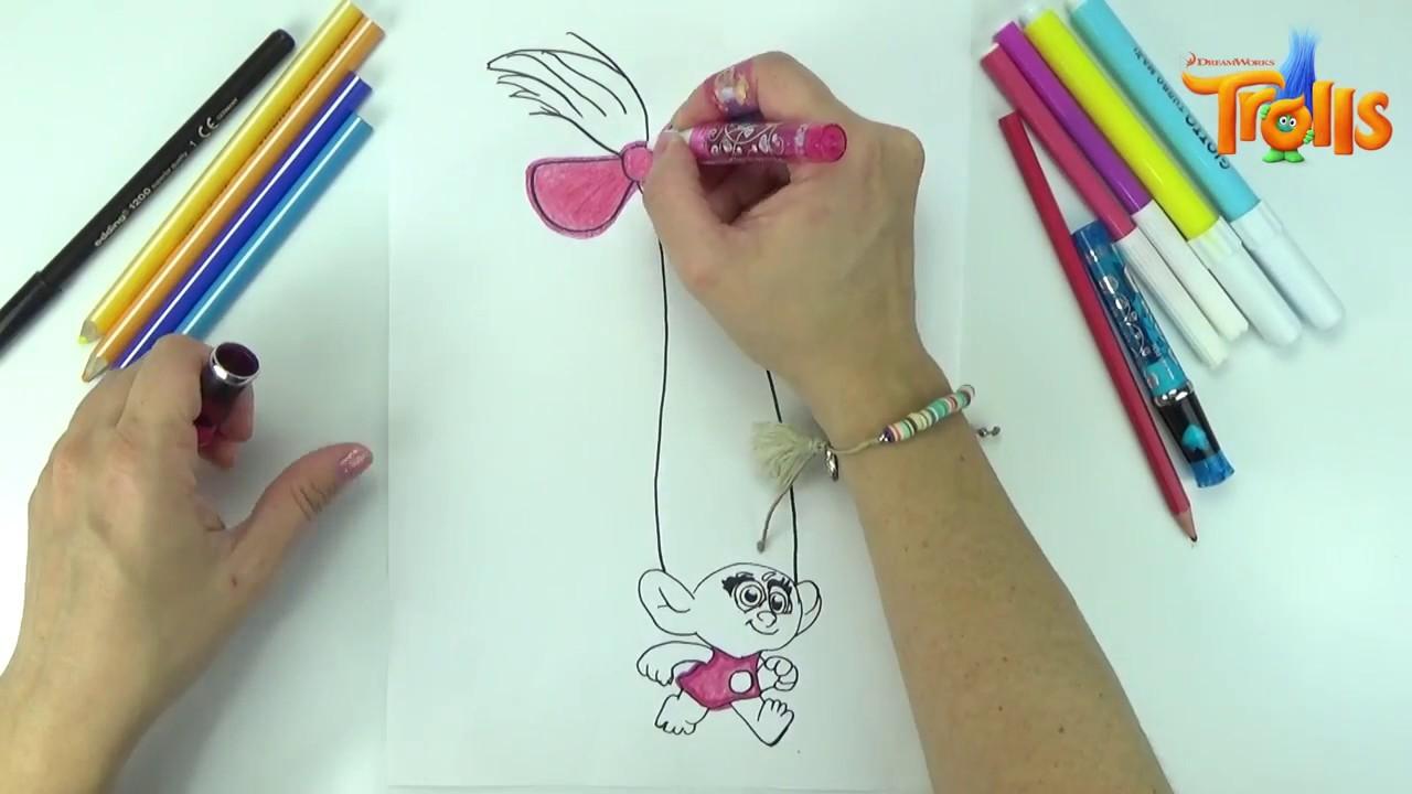 Como dibujar a Chiquilina de Trolls La pelicula | cámara rapida Lápiz y rotulador