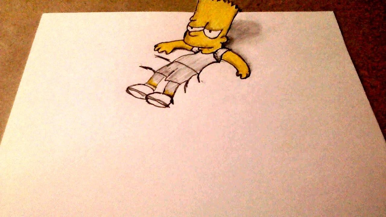 Como Dibujar Bart Simpson 3d