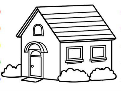 Como Dibujar Casa 3D - Coloreando Casa - Dibujos Para Niños. BabyKids