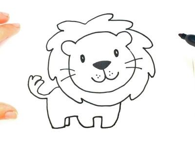 Como dibujar un Leon para niños | Dibujo de Leon paso a paso