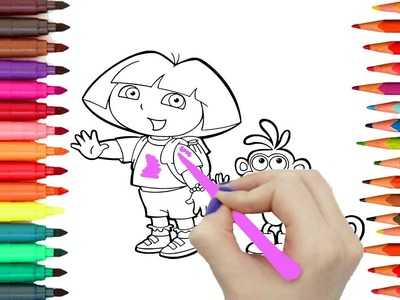 Como Dibujar y Colorear DORA LA EXPLORADORA - Aprende Los Colores Pintando - Videos Para Niños