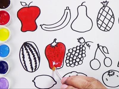 Como Dibujar y Colorear Frutas y Vegetales - Videos Para Niños. FunKeep