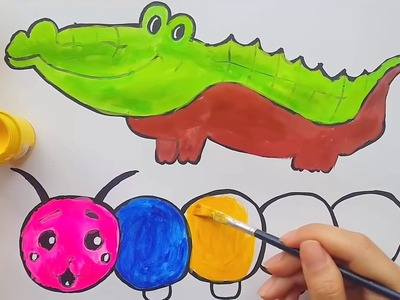 Como Dibujar y Colorear Cocodrilo, Gusano y Cangrejo - Dibujos Para Niños. Edukids