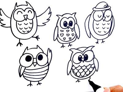Como Dibujar y Colorear Un pájaros del búho del Arco Iris - Dibujos Para Niños - Learn colors