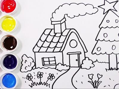 Como Dibujar y Colorear Una Casa con Arbol de Pino - Dibujos Para Niños. FunKeep