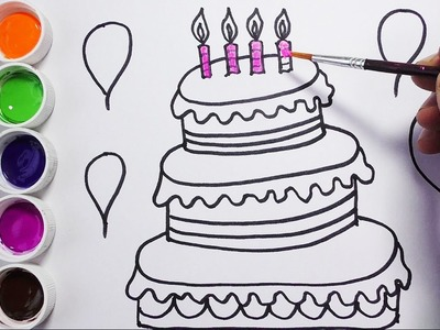 Como Dibujar y Colorear Una Torta de Cumpleaños - Dibujos Para Niños - FunKeep
