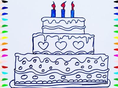 Como Dibujar y Colorear Una Torta de Cumpleaños | Dibujos Para Niños