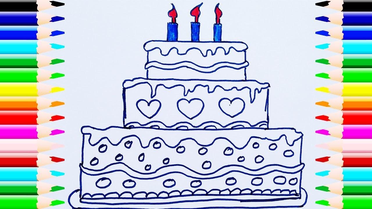 Como Dibujar y Colorear Una Torta de Cumpleaños, Dibujos Para Niños