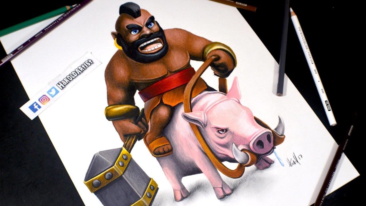 Como Dibujo Al Montapuerco De Clash Royale How To Draw Hog Rider