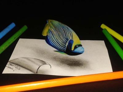Como dibujo (ilusión optica) un Pez Angel Emperador  | An anamorphic drawing fish ????