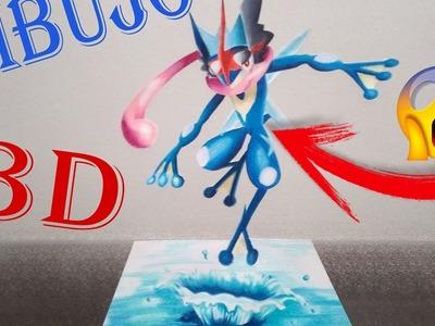 DIBUJO POKEMON 3D| Greninja Ash| How to draw 3D pokemon