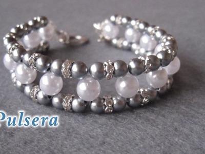 # DIY - Pulsera con perlas grises y muy facil # DIY - Bracelet with gray pearls