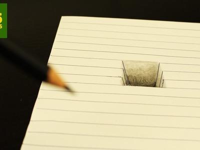 INCREIBLE TRUCO  - Como dibujar un hoyo en 3D paso a paso - How to draw a 3d hole
