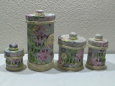 Latas decoradas con textura y decoupage para regalar el Dia de la Madre