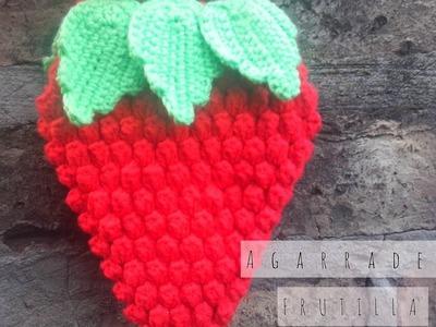 Agarradera Frutilla - Fresa a Crochet #Crochet Popcorn #Crochet Pochoclo
