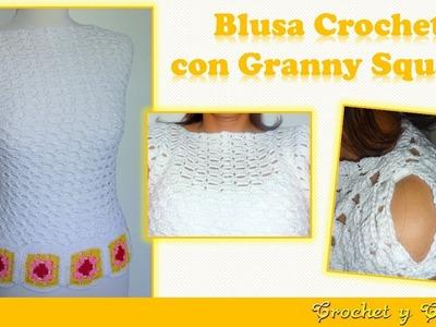 Blusa con granny square tejida a crochet (ganchillo) ????????????  Parte 1