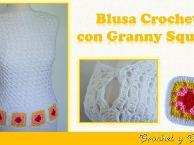 Blusa con granny square tejida a crochet (ganchillo) ☀️ Parte 2