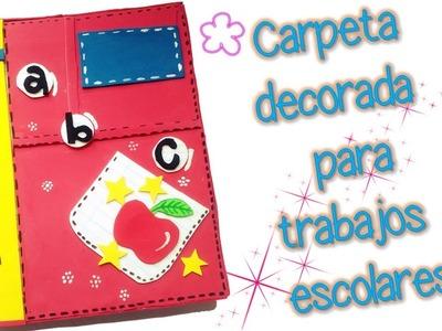 Carpeta decorada para trabajos escolares - DIY MANUALIDADES