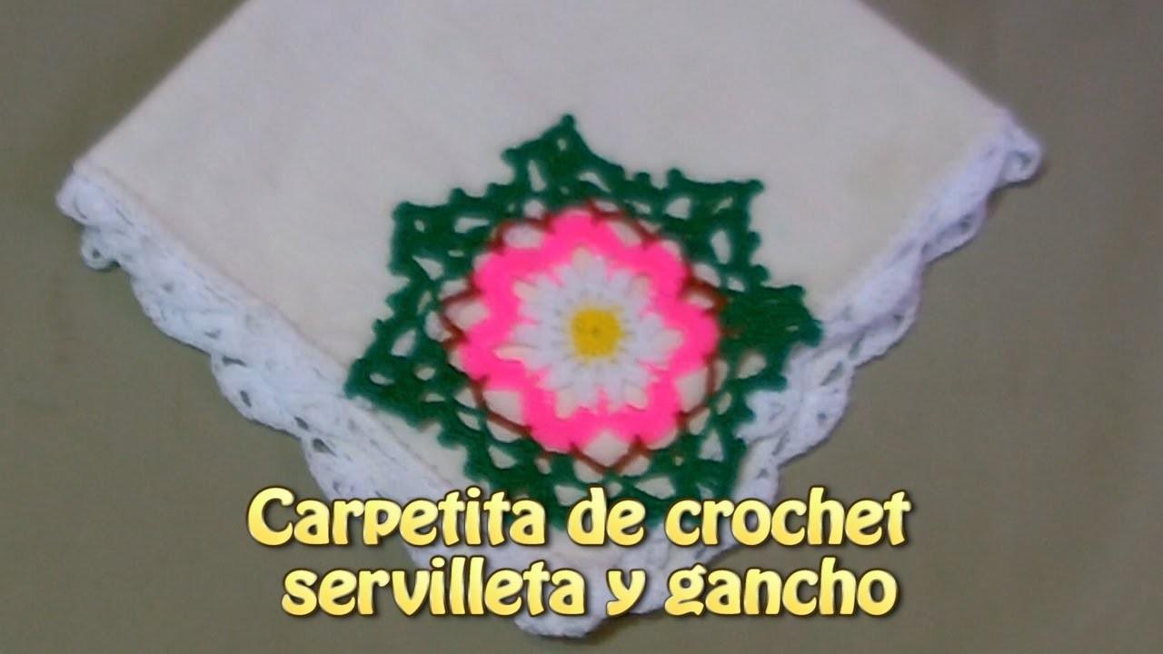 Carpetita de crochet servilleta y gancho |Creaciones y manualidades angeles