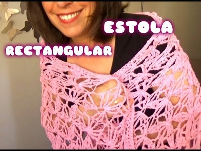CHAL.ESTOLA  RECTANGULAR DE FLORES EN CROCHET |GANCHILLO