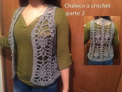 Chaleco a crochet con  piñas (parte 2)