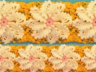 Como tejer a Crochet  punto espiral de flores caladas en cuadrado de hojas en relieve How to Crochet