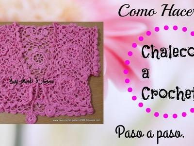 Como tejer Chaleco para dama a crochet con flores ♥TEJIDOS INSPIRACION♥