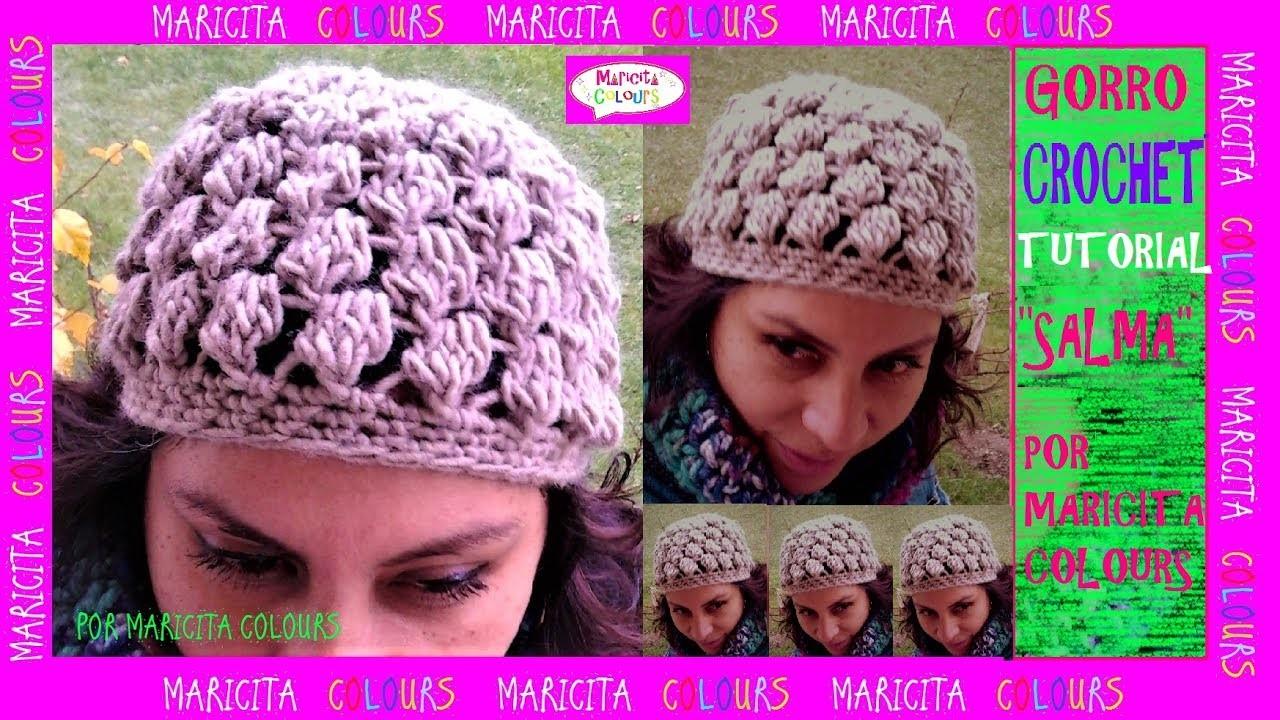 "Cómo tejer Gorro a Crochet ""Salma"" por Maricita Colours"