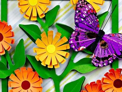 CUADRO DECORATIVO CON FLORES EN 3D | FLORES DE PAPEL | 3D PAPER FLOWERS FRAME