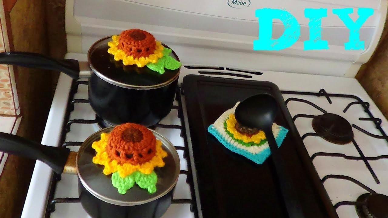 Cubre Tapas!! de Girasol tejido a crochet