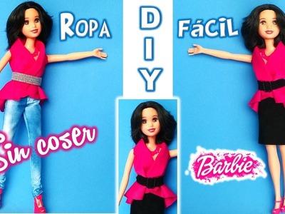DIY Barbie, BLUSA y FALDA SIN COSER ¡¡FÁCIL!! Para Muñecas Barbie Blanca Nieves