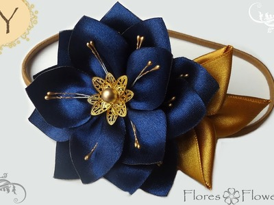 ????DIY Elegante y brillante flor Kaznashi azul marino. Satin ribbon flower you can DIY!